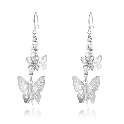 IVYRISE Fashion Unique Jewelry 925 Silver Elegant Double Butterfly Dangle (Butterfly Earrings Jewelry)