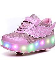 Unisex Kinderen Jongens Meisjes LED Skateboardschoenen Trainings Outdoorschoenen Dubbele wielen Trainers Gymnastiek Schoenen Opladen via USB Knippert Lichtgevend Sneaker
