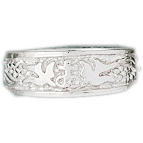 (Jewels Obsession Dove Dome Rings | 14K White Gold Dove Dome Ring - Made in USA (Custom Sizes Available 4-11) )