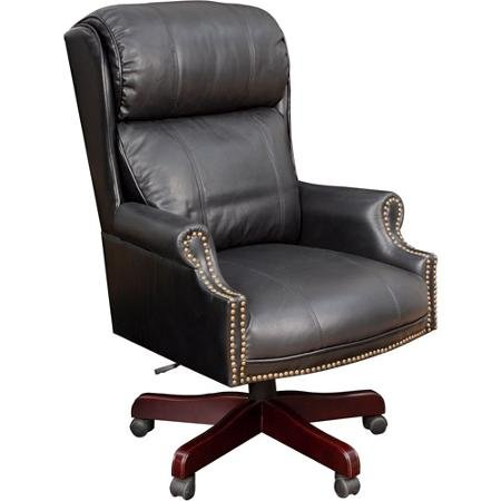 Regency Barrington Traditional Judge's Style Leather Swivel Chair, Black