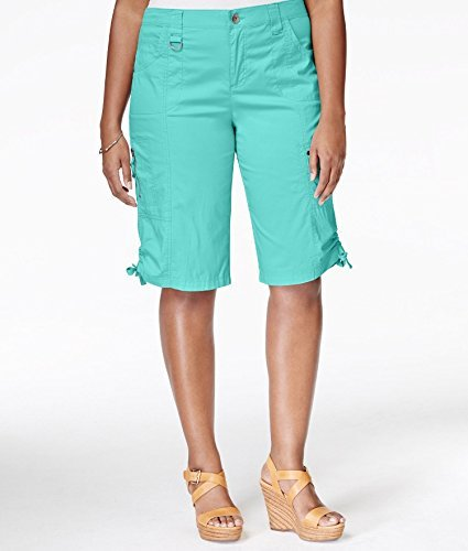 Style & Co. Womens Plus Ruched Hem Cargo Bermuda Shorts Blue 24W