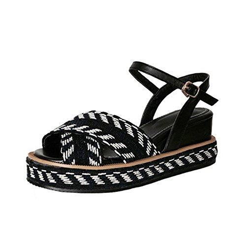 fereshte Women's Comfy Knitted Wool Peep-Toe Wedges Midsole Ankle Strap Sandals Black