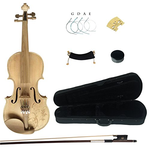 Kinglos 4/4 Flower Carved Ebony Fitted Solid Wood Unpainted Violin Kit with Case, Shoulder Rest, Bow, Rosin, Extra Bridge and Strings Full Size (MS007) by Kinglos