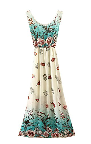StylesILove Chiffon Mixed Print Women Summer Maxi Dress (Blue)