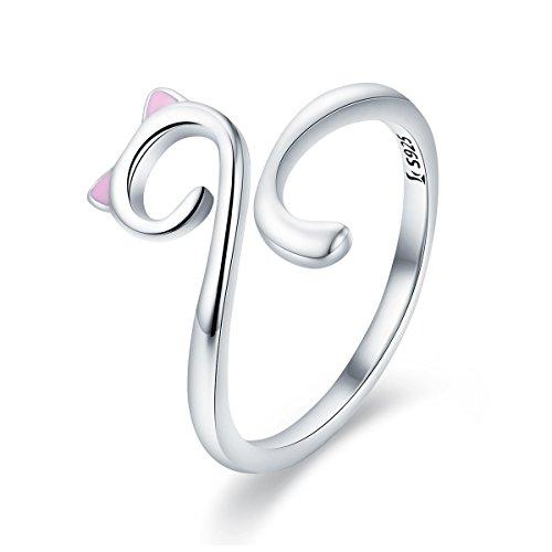 - WOSTU Girls Cat Rings 925 Sterling Silver Cute Cat Wrap Rings Adjustable Bands
