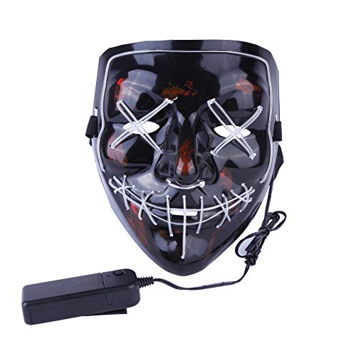 Leezo Frightening Wired Halloween Mask Cosplay LED Light up Mask for Festival Party Costumes Black]()