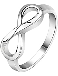 Silver Stainless Steel Infinity Symbol Wedding Band Engagement Rings (with Gift Bag)