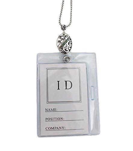 Filigree Abalone Silver Tone ID Badge Holder Lanyard Necklace Oval Shape