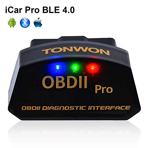 TONWON Car Bluetooth 4 0 OBD2 Code Readers, OBDII Bluetooth Scan Tool  ELM327 Car Diagnostic Tool Vehicle Scanner for iOS and Andiord