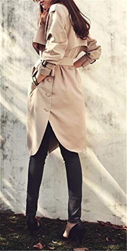 Otoño Sólidos Kahki Con Primavera Cinturón De Fashion Colores Slim Solapa Casual Elegantes Outerwear Bolsillos Abrigos Parkas Fit Gabardina Windbreaker Manga Modernas Largos Mujer Larga x4aEvE