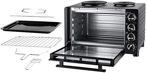 UNOLD 68885 KLEINKÜCHE All in One, 600-1.500 W, 30 L Volumen, Back-Grill-und Drehspießofen mit 2 Kochplatten, Metall, Schwarz