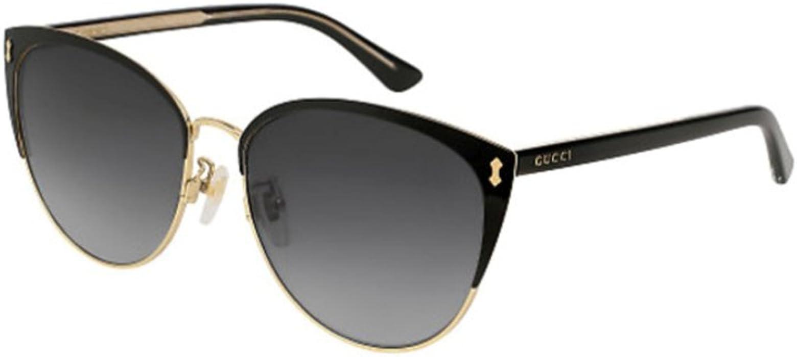 6b1cc94496 Amazon.com  Gucci GG 0197SK 002 Black Metal Fashion Sunglasses Grey ...