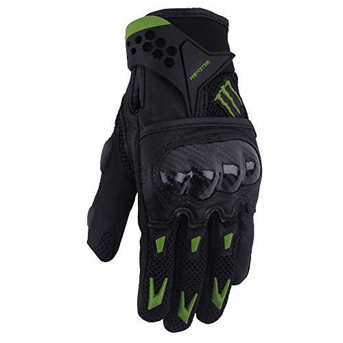 Fiber Carbon Motorcycle Gloves (A Pair of Pro-Biker Carbon Fiber Leather Bicycle Motorcycle Motorbike Powersports Racing Gloves (L, Green))