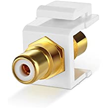 TNP RCA Keystone Jack Insert Connector (5 Pack) Socket Female Snap In Adapter Port Gold Plated Inline Coupler For Wall Plate Outlet Panel Mount (White)