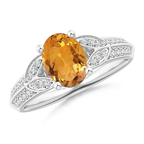 Citrine Knife - Knife-Edged Oval Citrine Solitaire Ring with Pave Diamonds in 14K White Gold (8x6mm Citrine)