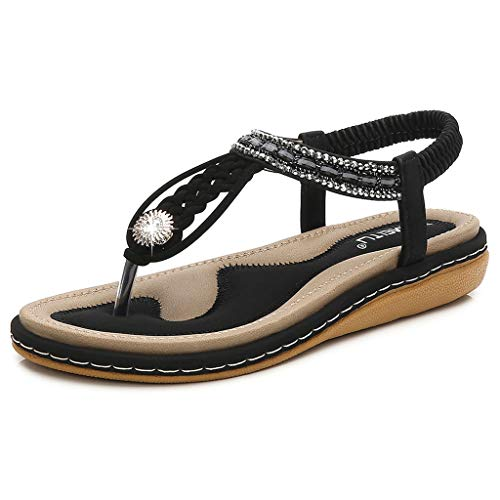 Tantisy ♣↭♣ Women's Bohemian Casual Sandals/Crystal Woven Roman Sandals/Comfy Flat Shoes/Elastic Band/Heel High:3cm/1.2