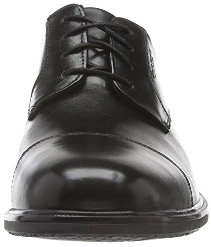 Essential Rockport Black II Leather Detail Black Captoe Uomo Scarpe Stringate ad4qd