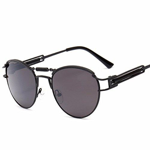 montura estilo Gafas metálica punky de ovaladas Gafas sol de con un deportivas mujeres sol sol hombres unisex Gafas polarizadas sol para de para protección de primavera de Gafas UV Negro conducción de de ppRzWf7q1