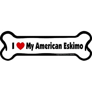 Imagine This Bone Car Magnet, I Love My American Eskimo, 2-Inch by 7-Inch 9
