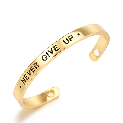 nkeybbon Inspirational Friendship Bracelets Inspire Words Engraved Hand Polished Gold Plated Hearts Open Cuff Bangle - Open Heart Cuff