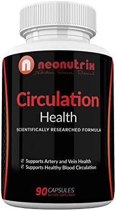 Blood Circulation Health Supplement for Vein Health Artery Health – L-Arginine, Ginger Root, Hawthorn Diosmin Cardiovascular Supplement – Natural Circulation Supplements – 90 Capsules by Neonutrix