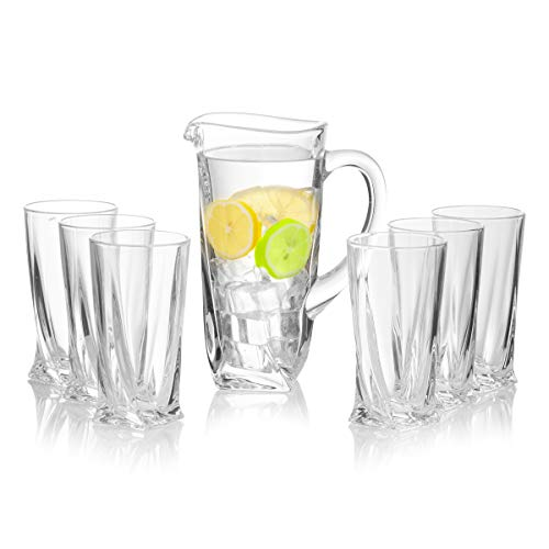 Crystal Glass Pitcher 7-Piece Set, Hand Carved and Decorative Glass Multi-Purpose Jar - Water / Mimosa / Sangria / Lemonade / Mix - 50 Ounces / 1500 Milliliters ()
