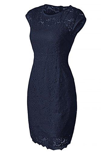 Midi Robe en Col Manches Robe Robe Fonc Cocktail NALATI Mariage Soire de Crayon Bleu Femmes Rond pour pour Courtes x0qCgWAf4w