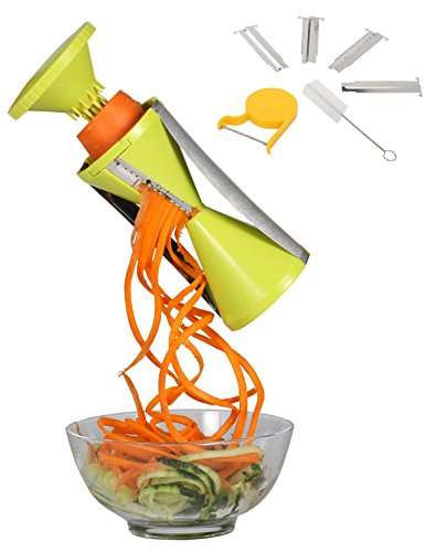Spiralizer Vegetable Spiral Slicer Bundle with Brush and Peeler for Veggie Zucchini Pasta Spaghetti Noodle