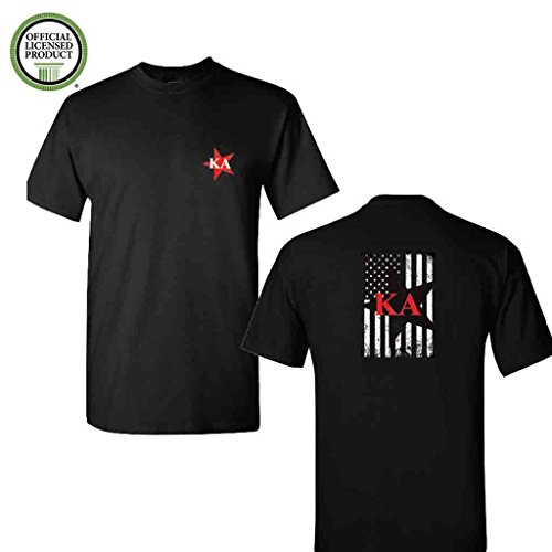 (Kappa Alpha Order Short Sleeve Tshirt- Distressed Stars And Flag Design Black Shirt- Great Shirts For Kappa Alpha Order Rush (Large))