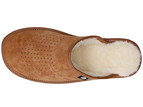 Pantuflas Para Hombre De Gamuza Con Lana Natural marrón