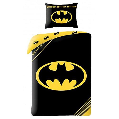 Batman Logo Black UK Single Duvet Cover and Pillowcase Set