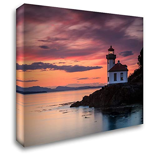 Orange Sunset at Lime Kiln Lighthouse 34x28 Gallery Wrapped Stretched Canvas Art by Severn, Shawn/Corinne