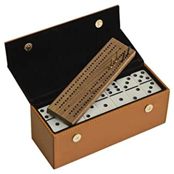 #450 Alex Cramer Travel Domino Set with Caramel-Colored Leather Case - Professional Tournament Domino Set - 28 Indestructible Double-Six Dominoes (Domino Set)