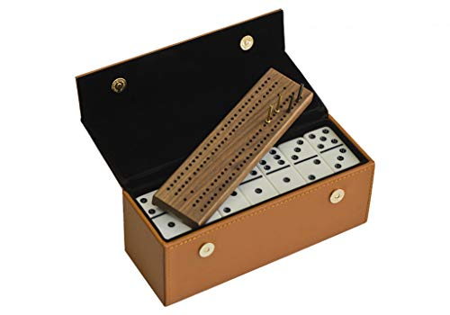 (Alex Cramer #450 Travel Domino Set with Caramel-Colored Leather Case - Professional Tournament Domino Set - 28 Indestructible Double-Six Dominoes (Domino Set with Personalized Brass Plate))