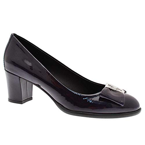 Heel Nicola Women's Low Shoe With Sexton Navy Trim Patent Court fqRAUq