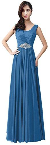 Les Femmes Caliadress Robe Formelle Sans Manches Cristal Longue Robe De Demoiselle D'honneur C159lf Lac Bleu