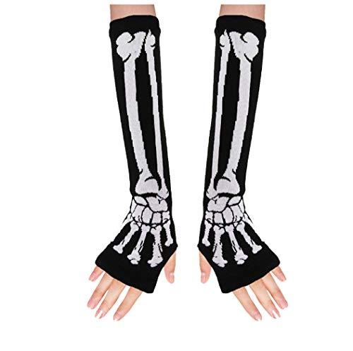 ColorFino Fingerless Arm Warmers Fingerless Gloves Cosplay Gloves (One Size, Skeleton)