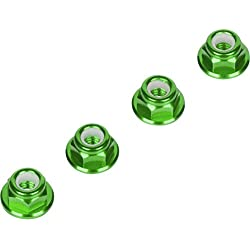 Luxury RC 4mm Green Serrated Wheel Lock Nuts (Set of 4) for Traxxas Axial Racing HPI Racing TLR and ECX Vehicles