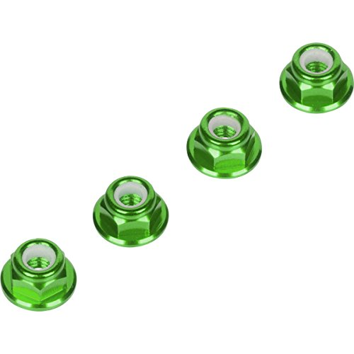 Luxury RC 4mm Green Serrated Wheel Lock Nuts (Set of 4) for Traxxas Axial Racing HPI Racing TLR and ECX Vehicles ()