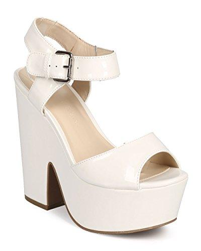 New White Patent Platform (Wild Diva DH90 Women Patent Peep Toe Retro Chunky Heel Platform Sandal - White (Size: 8.5))