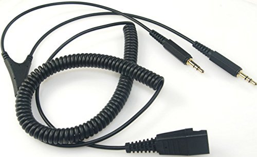 GN Netcom QD Cable PC/Computer Coiled Cord Quick Disconnect to Dual 3.5mm Plugs by VoiceJoy (Image #1)