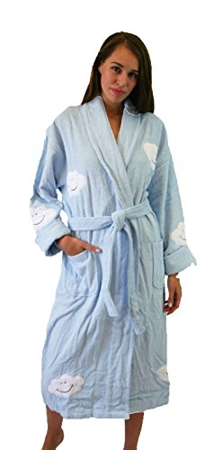 - Aegean Apparel Cloud Appliqued Robe in Pastel Blue, 100% Cotton Terry, Long, OS