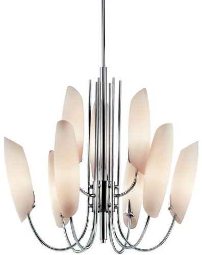 Lamps Plus Satin Chandelier (Kichler Lighting 42213CH Stella 9-Light Chandelier, Chrome with Satin-Etched Cased Opal)