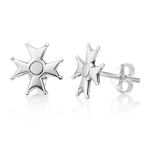 Sterling Maltese Cross - Sterling Silver North Star Grand Maltese Cross Star of a Knight Symbol Stud Earrings 10 mm