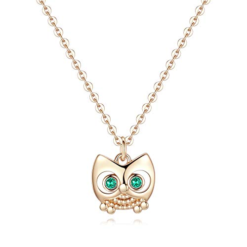 Turandoss Wisdom Owl Necklace for Women Gifts - 14K Gold Plated Dainty Pendant CZ Owl Necklace for Women Girls, Tiny Wisdom Owl Necklace Best Baby Girl Gifts Teen Boy Gifts Teen Girl Gifts Baby Gifts
