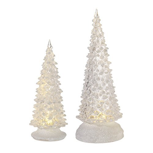Set of 2 LED Light up Clear Christmas Tree Figurines with Timer by RAZ Imports