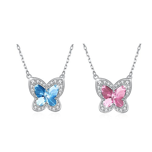 OMZBM Austrian Crystal Butterfly Necklace 925 Sterling Silver Hypoallergenic Dangle Adjustable Necklace Women Jewelry Blue/Pink,C