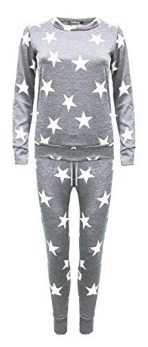 Trendy Womens Womens Star 2pcs Two Piece Jogging Exercise Suit (S, Light Grey) by Trendy Womens