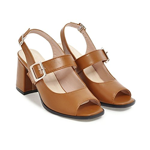 Aworth Size Plus Size Aworth 34-46 Fashion Summer Ladies Shoes Peep Toe Buckle Square Heel Elegant High Heels Sandals Shoes... B07CG9HFRB Parent f8c4f2