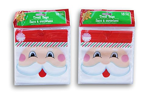 (Christmas Santa Face Themed Loot Treat Bags - 36 Count)
